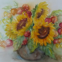 Zonnebloemen en lampionnetjes