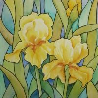 Irissen, glas in lood